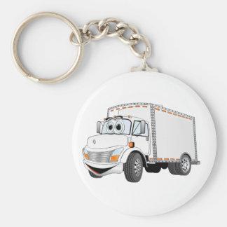 Dibujo animado del blanco del camión de reparto llavero redondo tipo pin