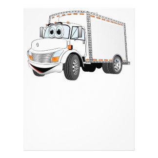 Dibujo animado del blanco del camión de reparto membrete