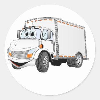 Dibujo animado del blanco del camión de reparto pegatina redonda