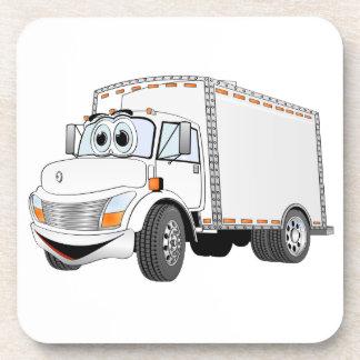 Dibujo animado del blanco del camión de reparto posavasos