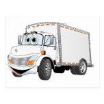 Dibujo animado del blanco del camión de reparto postal