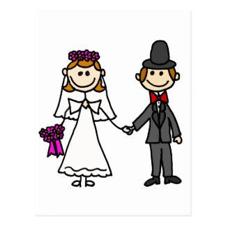 Dibujo animado del boda de novia y del novio postales