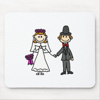 Dibujo animado del boda de novia y del novio tapetes de raton