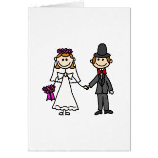 Dibujo animado del boda de novia y del novio tarjeta de felicitación