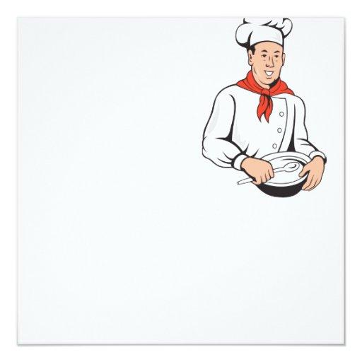 """Dibujo animado del bol grande del panadero del invitación 5.25"""" x 5.25"""""""