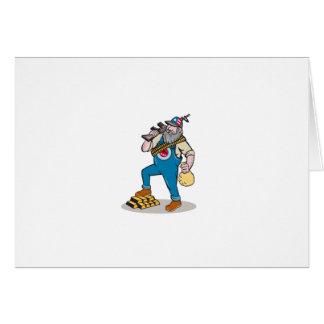 Dibujo animado del bolso del dinero de las barras tarjeta de felicitación