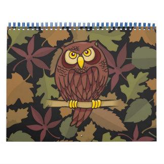 Dibujo animado del búho calendario