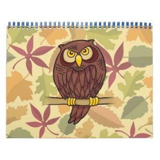 Dibujo animado del búho calendarios de pared