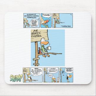 Dibujo animado del café del controlador aéreo alfombrilla de ratón
