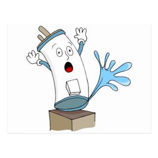 Dibujo animado del calentador de agua que se postal