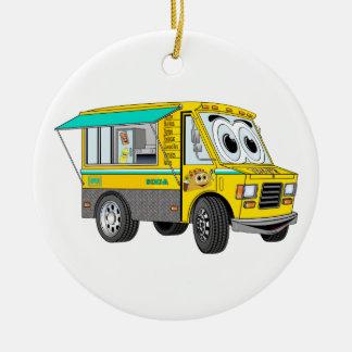 Dibujo animado del camión de la comida del Taco Adorno Navideño Redondo De Cerámica