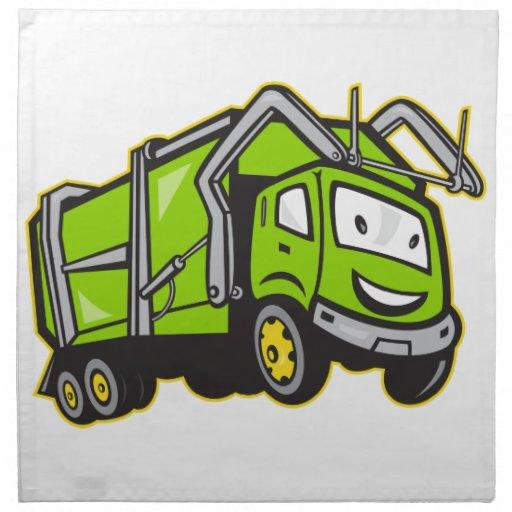 Dibujo animado del camión de los desperdicios de l servilletas imprimidas