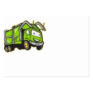 Dibujo animado del camión de los desperdicios de l tarjeta de visita