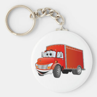 Dibujo animado del camión de reparto (color) llavero redondo tipo pin
