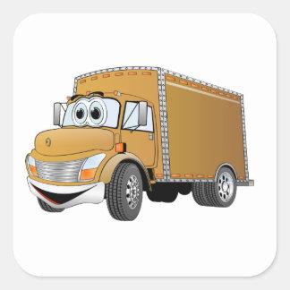 Dibujo animado del camión de reparto (color) pegatina cuadrada