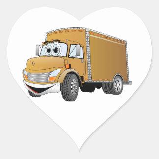 Dibujo animado del camión de reparto (color) pegatina en forma de corazón