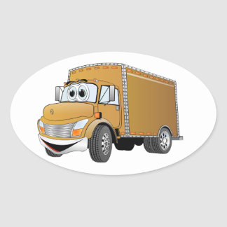Dibujo animado del camión de reparto (color) pegatina ovalada