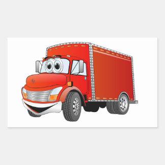 Dibujo animado del camión de reparto (color) pegatina rectangular