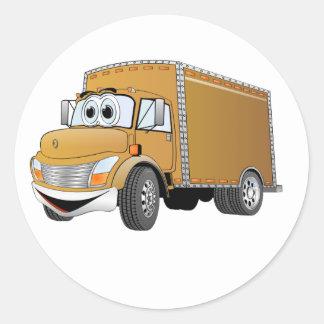 Dibujo animado del camión de reparto (color) pegatina redonda