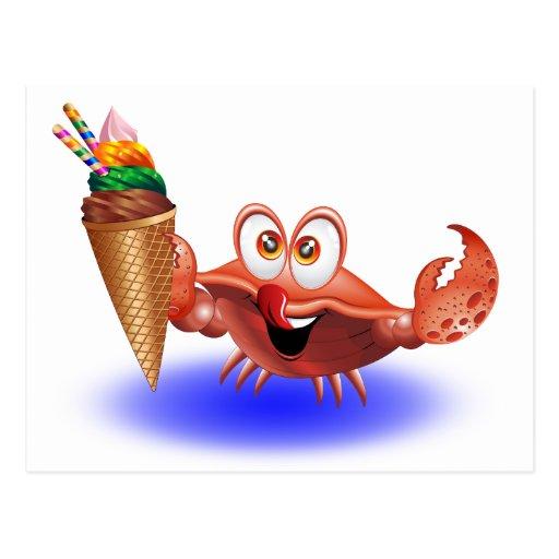 Dibujo animado del cangrejo con la postal del hela