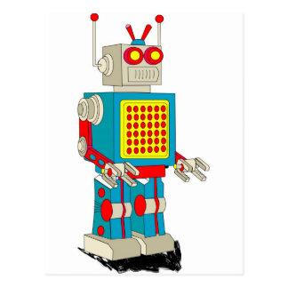 Dibujo animado del carácter del robot tarjetas postales