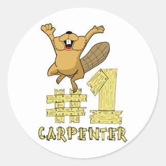 Dibujo animado del castor del carpintero del pegatinas redondas