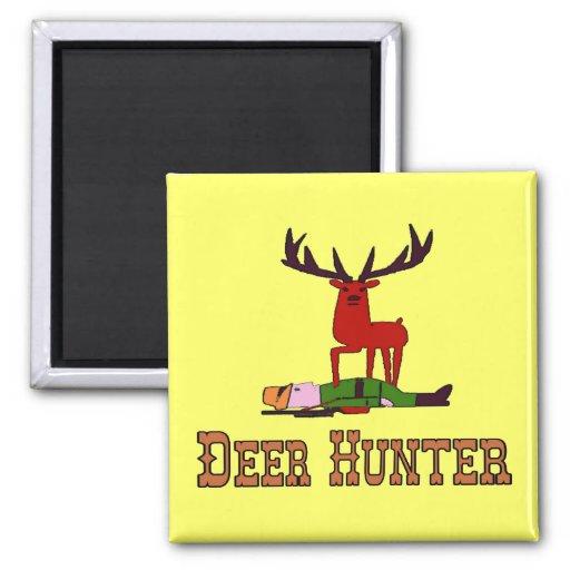 Dibujo animado del cazador de los ciervos imán cuadrado
