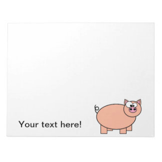 Dibujo animado del cerdo bloc de notas