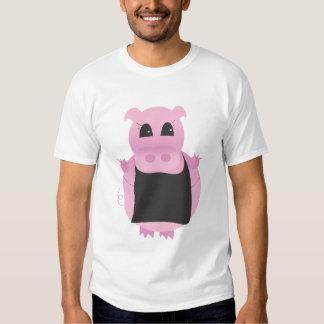 Dibujo animado del cerdo con el delantal playeras