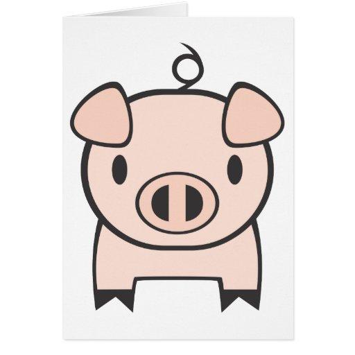 Dibujo animado del cerdo del bebé tarjeta