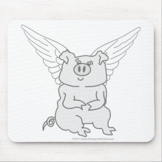 Dibujo animado del cerdo del vuelo tapetes de ratón