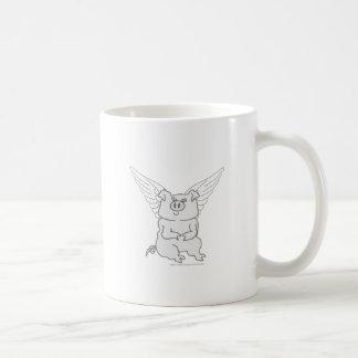 Dibujo animado del cerdo del vuelo taza básica blanca