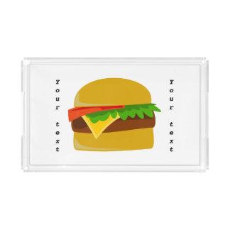 Dibujo animado del cheeseburger bandeja rectangular
