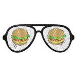 Dibujo animado del cheeseburger gafas de fiesta