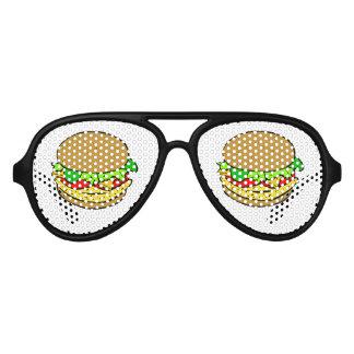 Dibujo animado del cheeseburger lentes de sol