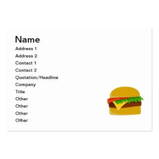 Dibujo animado del cheeseburger tarjetas de visita grandes