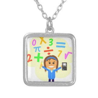Dibujo animado del chica de la matemáticas colgante cuadrado