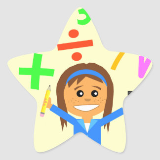 Dibujo animado del chica de la matemáticas pegatina en forma de estrella