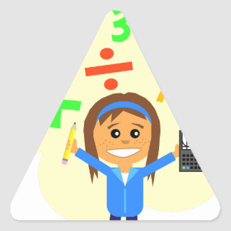 Dibujo animado del chica de la matemáticas pegatina triangular