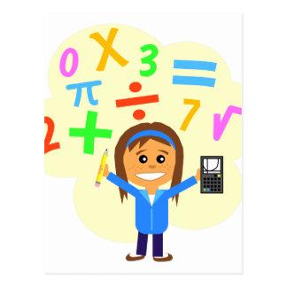 Dibujo animado del chica de la matemáticas postal