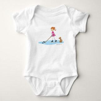 Dibujo animado del chica del hockey mameluco de bebé