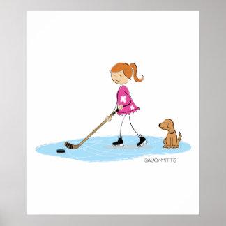 Dibujo animado del chica del hockey póster