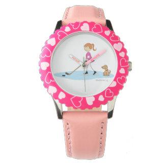Dibujo animado del chica del hockey relojes de pulsera