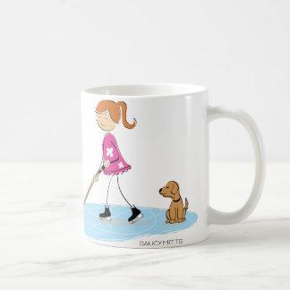 Dibujo animado del chica del hockey taza