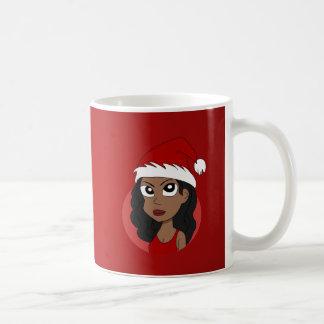 Dibujo animado del chica del navidad taza de café