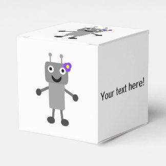 Dibujo animado del chica del robot cajas para regalos