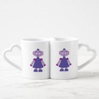 Dibujo animado del chica del robot set de tazas de café
