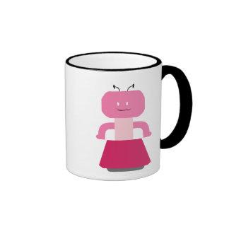Dibujo animado del chica del robot taza de dos colores