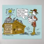 Dibujo animado del chiste de Seguro de enfermedad  Póster