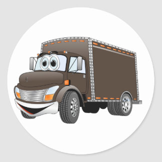 Dibujo animado del chocolate del camión de reparto pegatina redonda
